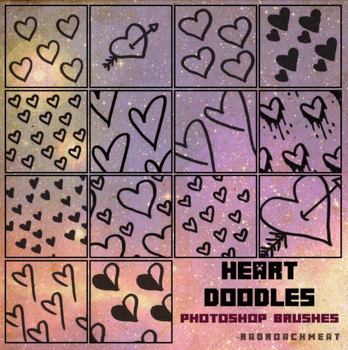フォトショップ ブラシ 無料 ハート Photoshop Heart Brush Free abr Doodle-Hearts