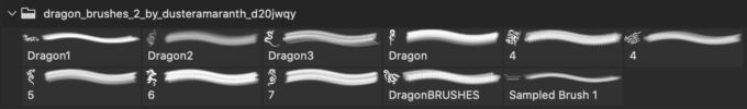 フォトショップ ブラシ Photoshop Dragon Brush Free abr 無料 イラスト ドラゴン 竜 龍 Dragon Brushes 2