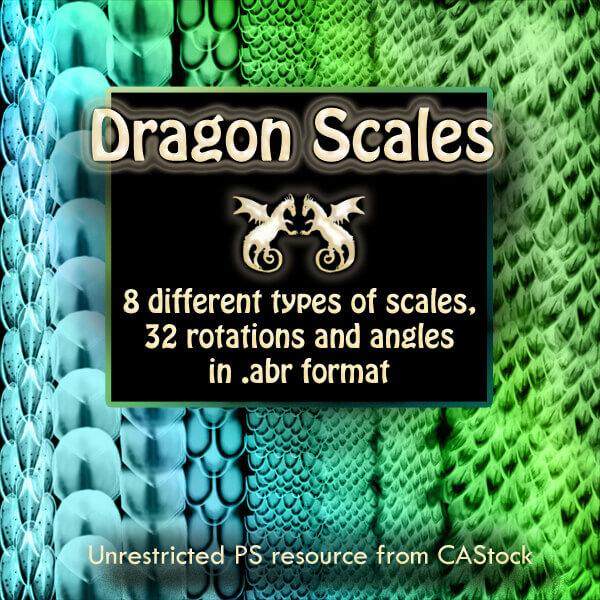 フォトショップ ブラシ Photoshop Dragon Brush Free abr 無料 イラスト ドラゴン 竜 龍 Dragon Scales brush set