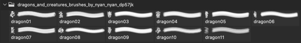 フォトショップ ブラシ Photoshop Dragon Brush Free abr 無料 イラスト ドラゴン 竜 龍 Dragons and Creatures Brushes