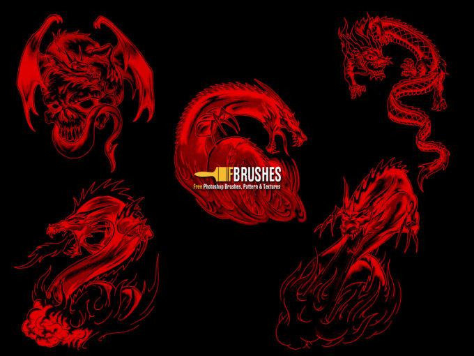 フォトショップ ブラシ Photoshop Dragon Brush Free abr 無料 イラスト ドラゴン 竜 龍 Dragons of Nightmares