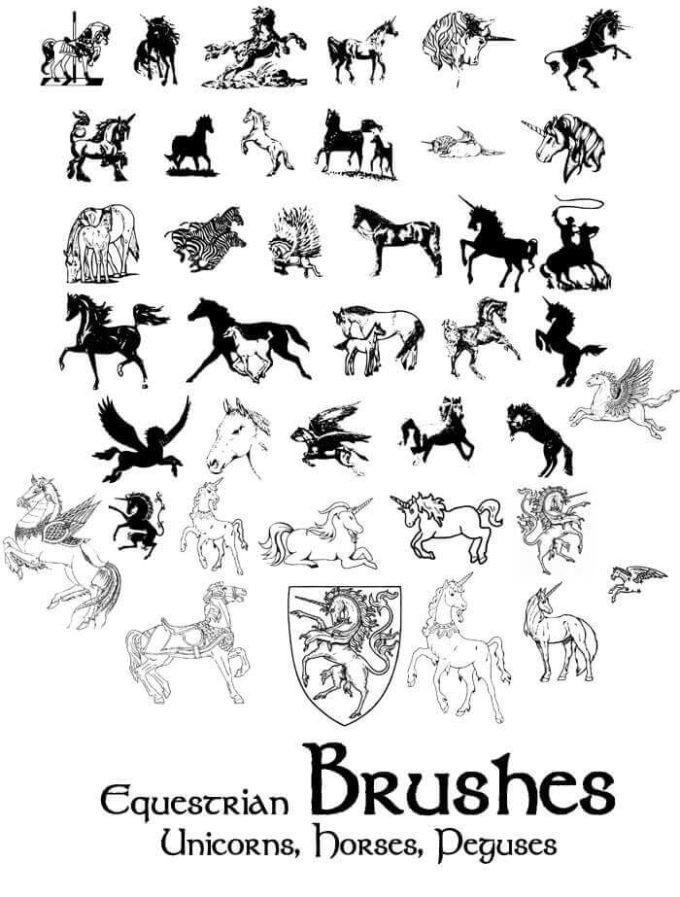 フォトショップ ブラシ Photoshop Unicorn Brush 無料 イラスト ユニコーン Equestrian Brushes