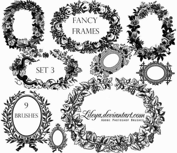 フォトショップ ブラシ 無料 リース Photoshop Wreath Brush Free abr Fancy Frames set 3
