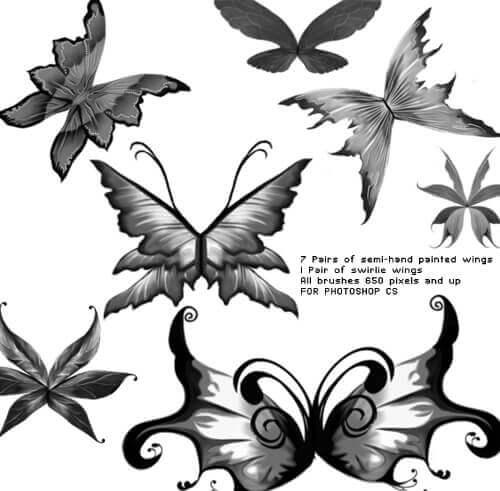 フォトショップ ブラシ Photoshop Butterfly Brush 無料 イラスト 蝶 Fantasy Wing Brushes