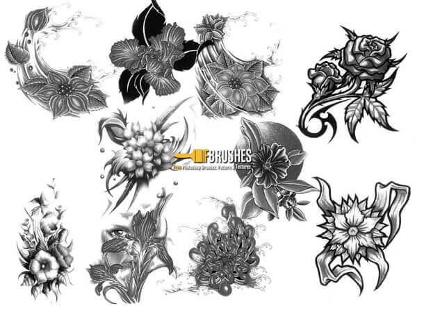 フォトショップ ブラシ Photoshop Tattoo Brush Free abr 無料 イラスト タトゥー 模様 柄 刺青 花 フラワー Floral Body Art