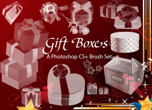 フォトショップ ブラシ Photoshop  Gift Box Present Brush 無料 イラスト ギフトボックス プレゼント 24 Lovely Gift Boxes as Photoshop Brushes