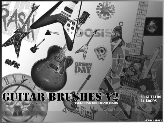 フォトショップ ブラシ Photoshop Guitar Brush 無料 イラスト ギター Guitar Brushes v2