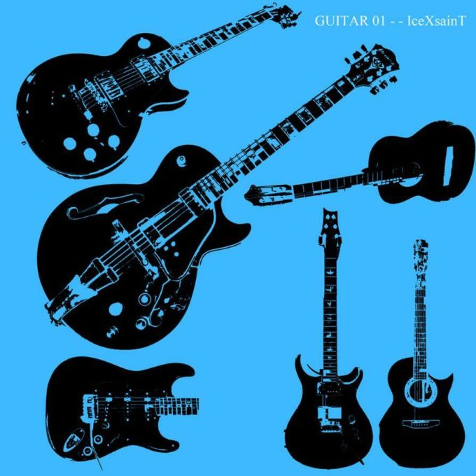 フォトショップ ブラシ Photoshop Guitar Brush 無料 イラスト ギター Guitar 01 Vector Brushset