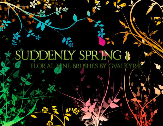 フォトショップ ブラシ Photoshop Brush 無料 Flower イラスト 花 フラワー フローラル gvl - Suddenly Spring brushes