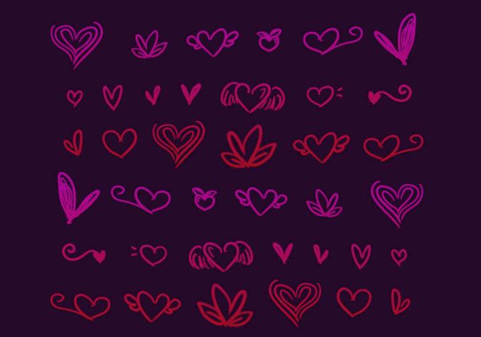 フォトショップ ブラシ 無料 ハート Photoshop Heart Brush Free abr Heart Doodles Brushes 2