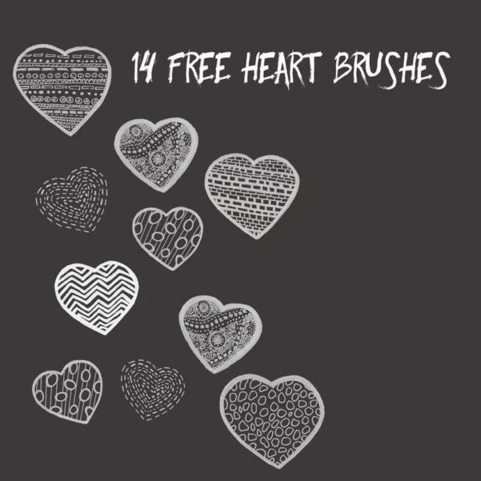 フォトショップ ブラシ 無料 ハート Photoshop Heart Brush Free abr 14 Valentine Brushes