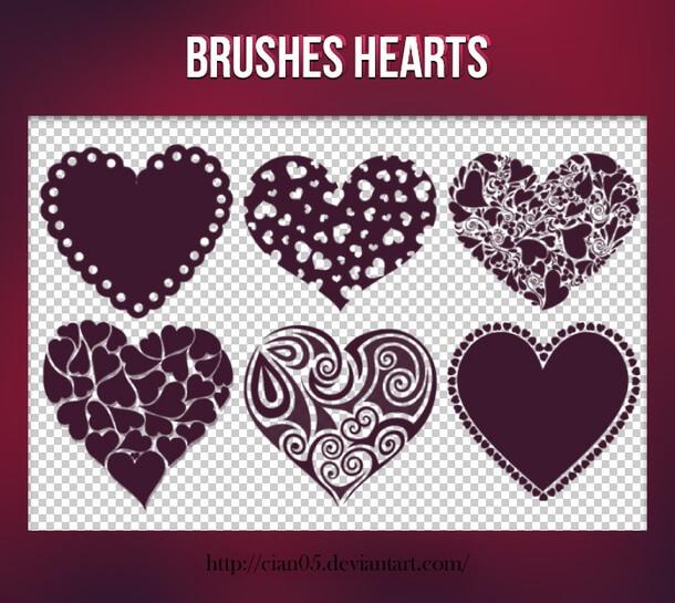 フォトショップ ブラシ 無料 ハート Photoshop Heart Brush Free abr Heart Shapes Brushes