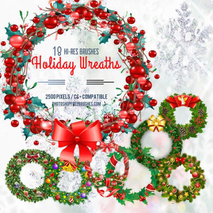 フォトショップ ブラシ 無料 リース Photoshop Wreath Brush Free abr 18 Christmas Wreaths and Holiday Garland Brushes