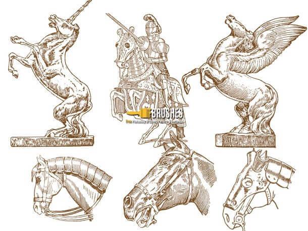 フォトショップ ブラシ Photoshop Horse Brush 無料 イラスト 馬 ホース Horse Drawings