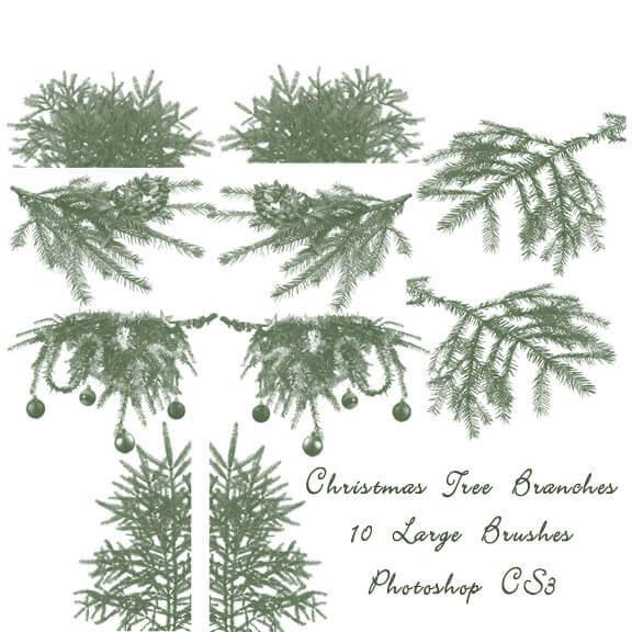 フォトショップ ブラシ 無料 クリスマス  クリスマスツリー Photoshop Christmas Tree Brush Free abr Christmas Tree Branch Brushes