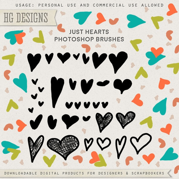 フォトショップ ブラシ 無料 ハート Photoshop Heart Brush Free abr Just-Hearts
