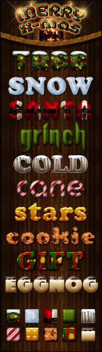 Photoshop Christmas Layer Style フォトショップ クリスマス レイヤースタイル merry x-mas styles
