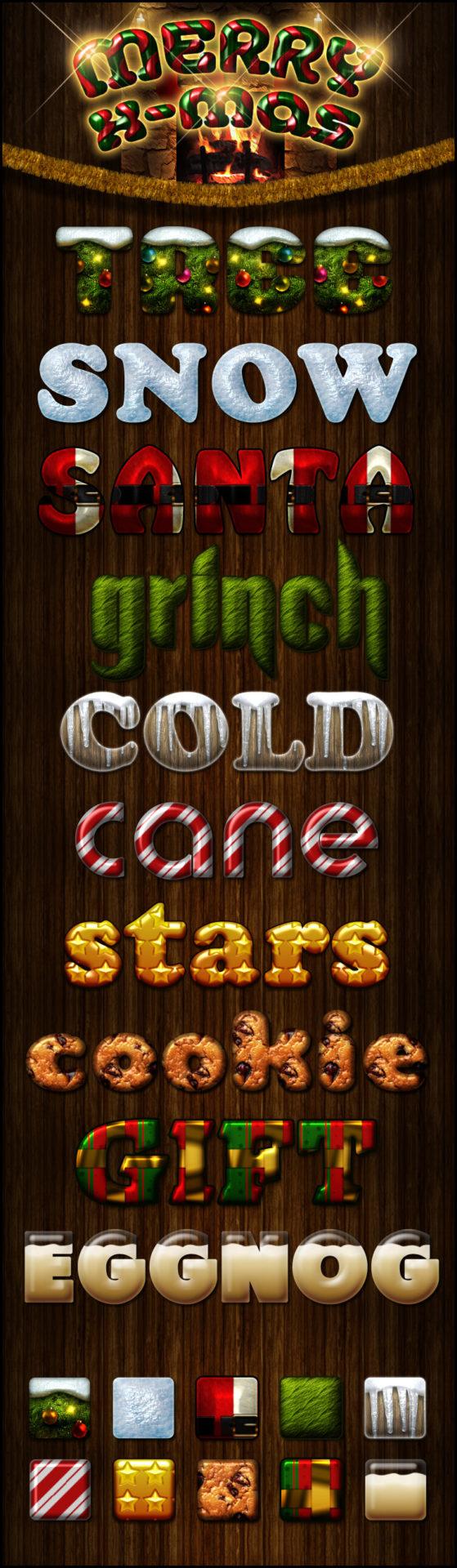 Photoshop Christmas Text Effect Xmas フォトショップ クリスマス テキストエフェクト merry x-mas styles