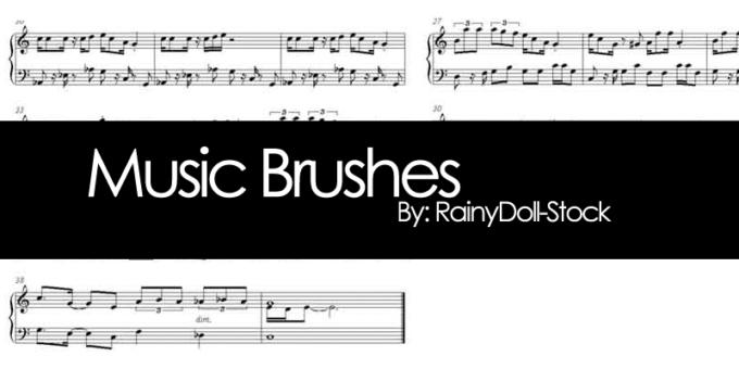 フォトショップ ブラシ Photoshop Music Note Brush 無料 イラスト 音楽  音符 楽譜 譜面 Music Brushes