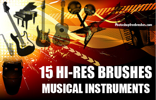 フォトショップ ブラシ Photoshop Guitar Brush 無料 イラスト ギター 15 Musical Instruments Photoshop Brushes Part 2