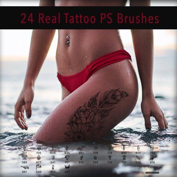 フォトショップ ブラシ Photoshop Tattoo Brush Free abr 無料 イラスト タトゥー 模様 柄 刺青 Realistic Tattoo Brushes