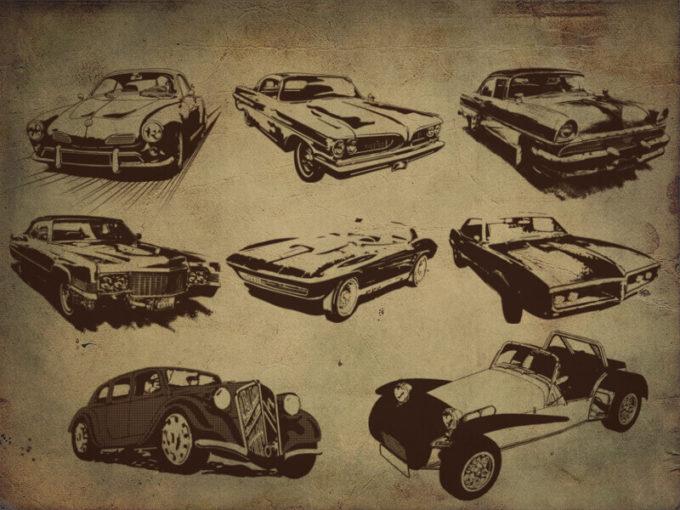 フォトショップ ブラシ Photoshop Car Brush 無料 イラスト 車 カー Retro style car Brushes