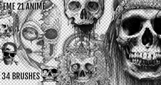 フォトショップ ブラシ Photoshop Skeleton Brush 無料 イラスト スカル 骸骨 ガイコツ スケルトン Scary Skulls