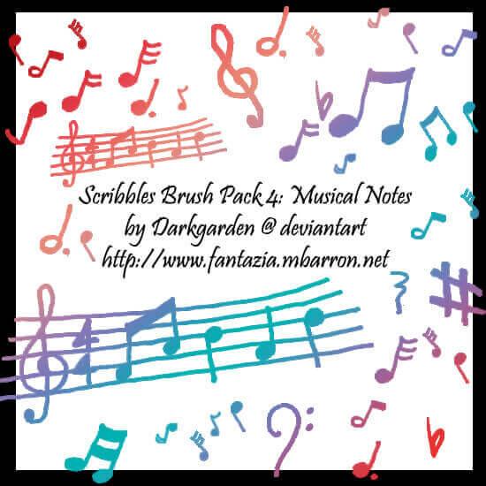 フォトショップ ブラシ Photoshop Music Note Brush 無料 イラスト 音楽  音符 楽譜 譜面 Scribbles 4: Musical Notes