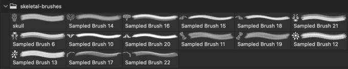 フォトショップ ブラシ Photoshop Skeleton Brush 無料 イラスト スカル 骸骨 ガイコツ スケルトン Skull Ornament Brush