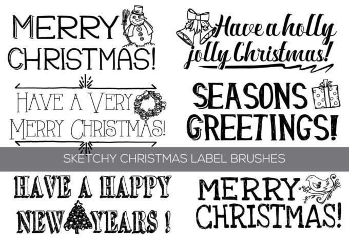 フォトショップ ブラシ 無料 クリスマス ラベル テキスト Photoshop Christmas Label Brush Free abr Hand Drawn Christmas Text Label Brushes