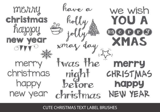 フォトショップ ブラシ 無料 クリスマス ラベル テキスト Photoshop Christmas Label Brush Free abr Sketchy Christmas Text Label Brushes