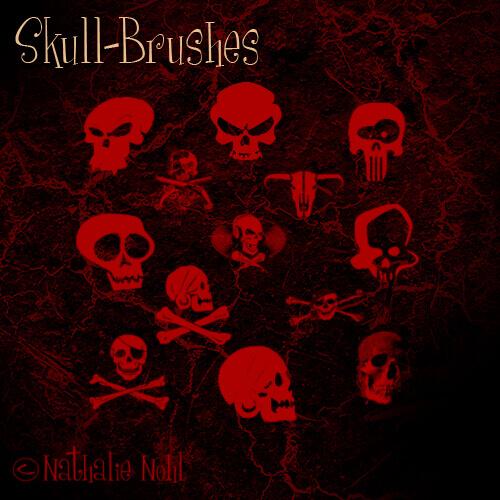 フォトショップ ブラシ Photoshop Skeleton Brush 無料 イラスト スカル 骸骨 ガイコツ スケルトン skull-brush-set