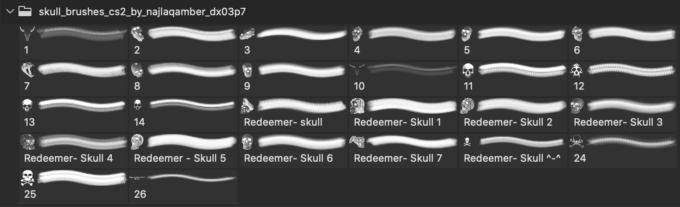 フォトショップ ブラシ Photoshop Skeleton Brush 無料 イラスト スカル 骸骨 ガイコツ スケルトン Skull brushes CS2