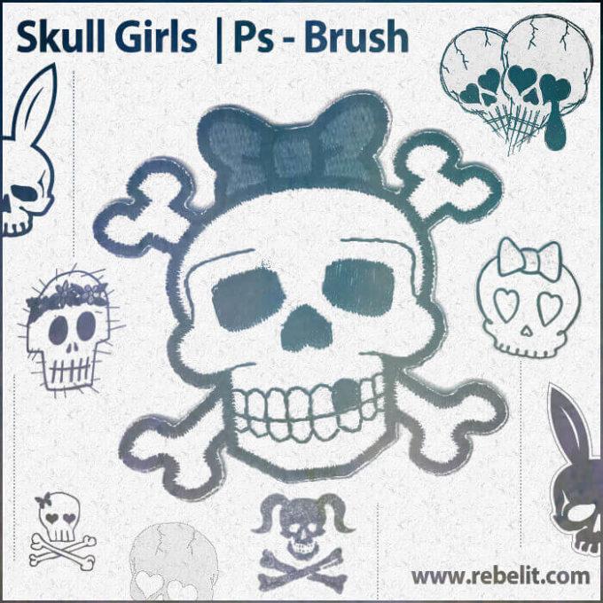 フォトショップ ブラシ Photoshop Skeleton Brush 無料 イラスト スカル 骸骨 ガイコツ スケルトン Skull Girls