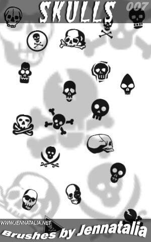 フォトショップ ブラシ Photoshop Skeleton Brush 無料 イラスト スカル 骸骨 ガイコツ スケルトン Skulls brush set
