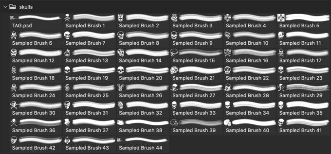 フォトショップ ブラシ Photoshop Skeleton Brush 無料 イラスト スカル 骸骨 ガイコツ スケルトン Skulls Collection