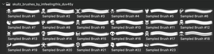 フォトショップ ブラシ Photoshop Skeleton Brush 無料 イラスト スカル 骸骨 ガイコツ スケルトン Skullz Brushes