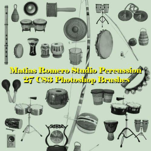 フォトショップ ブラシ Photoshop Musical instrument Brush 無料 イラスト 音楽 楽器 Studio Percussion
