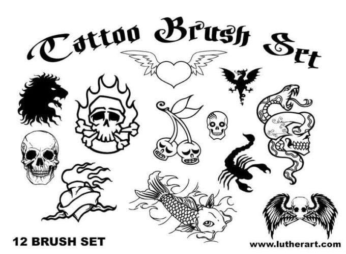 フォトショップ ブラシ Photoshop Tattoo Brush Free abr 無料 イラスト タトゥー 模様 柄 刺青 TATTOO Brush Set