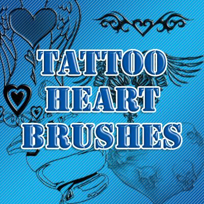 フォトショップ ブラシ Photoshop Tattoo Brush Free abr 無料 イラスト タトゥー 模様 柄 刺青 Tattoo Heart Brushes