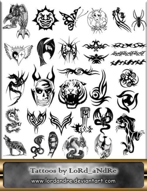 フォトショップ ブラシ Photoshop Tattoo Brush Free abr 無料 イラスト タトゥー 模様 柄 刺青 Tattoos