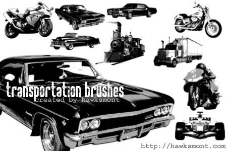 フォトショップ ブラシ Photoshop Vintage Bike Brush 無料 イラスト バイク レトロ ビンテージ Transportation brushes
