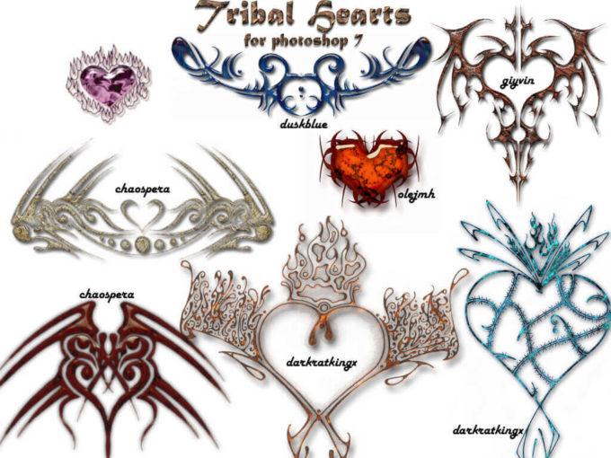 フォトショップ ブラシ Photoshop Tattoo Brush Free abr 無料 イラスト タトゥー 模様 柄 刺青 TribalHeart PS7 Brushes