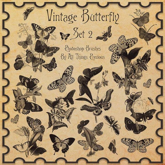 フォトショップ ブラシ Photoshop Butterfly Brush 無料 イラスト 蝶 Vintage Butterflies SET 2 Brushes