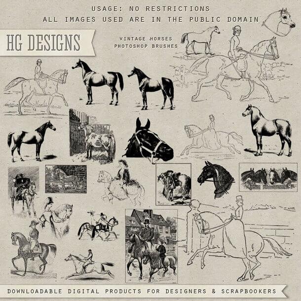 フォトショップ ブラシ Photoshop Horse Brush 無料 イラスト 馬 ホース Vintage Horse Collection