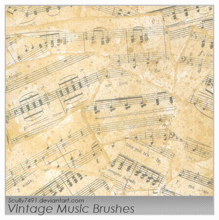 フォトショップ ブラシ Photoshop Music Note Brush 無料 イラスト 音楽  音符 楽譜 譜面 Vintage Music Brushes