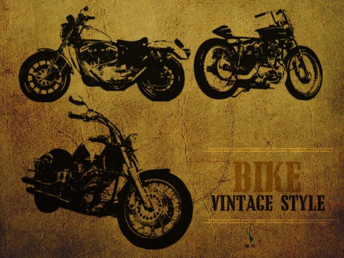 フォトショップ ブラシ Photoshop Vintage Bike Brush 無料 イラスト バイク レトロ ビンテージ Vintage Style Bike brushl