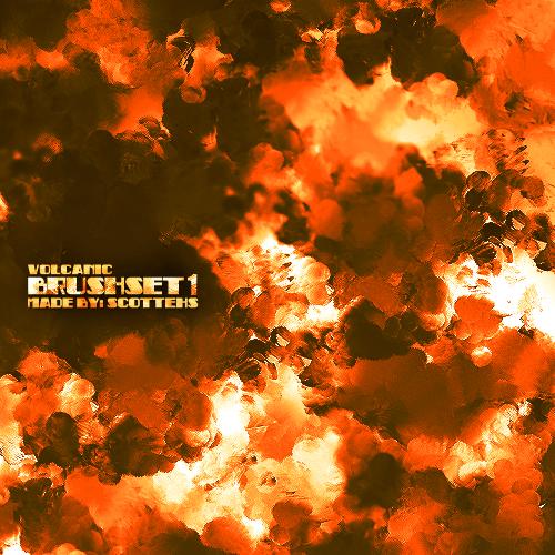 フォトショップ ブラシ Photoshop Fire Brush 無料 イラスト 火 炎 ファイヤー Volcanic - Brush Set 1