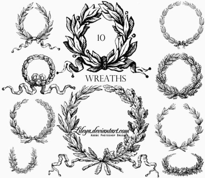 フォトショップ ブラシ 無料 リース Photoshop Wreath Brush Free abr 12 Wreaths Free PS Brushes