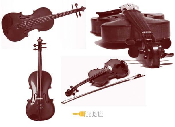 フォトショップ ブラシ Photoshop Violin Brush 無料 イラスト 音楽  楽器 バイオリン Beautiful Violin